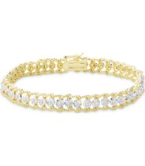diamond accent rope edge tennis bracelet in fine gold plate