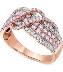 certified pink & white diamond crossover statement ring (1 ct. t.w.) in 14k rose gold