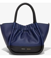proenza schouler small colorblock ruched crossbody tote black/blue one size