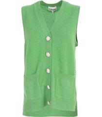 ganni cashmere knit sleeveless cardigan