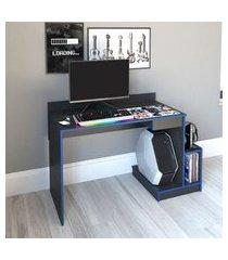 mesa gamer nova mobile b41.065 bs 1gaveta 1nicho preto e azul