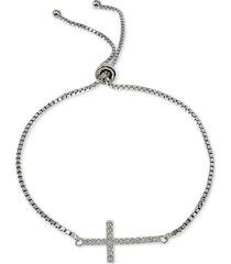 giani bernini cubic zirconia east-west cross bolo bracelet in sterling silver, created for macy's