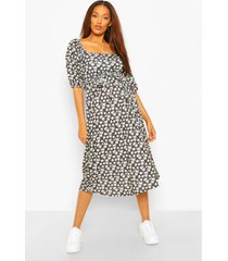 zwangerschaps bloemenprint midi jurk met geplooide mouwen en ceintuur, black