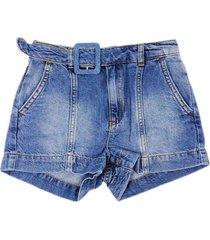 liu-jo denim shorts with belt and side pockets
