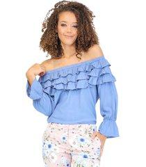 blusa off shoulders con tres capas de bolero en escote azul índigo unipunto 32322