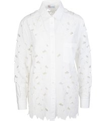 floral embroidered cut-out shirt