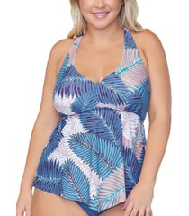 raisins curve trendy plus size puerto palm-print tankini top women's swimsuit