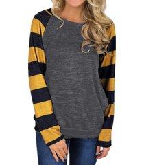 zanzea mujeres cuello redondo a rayas de manga larga tops blusa de la camisa suéter nuevo -gris