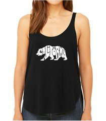 la pop art women's premium word art flowy tank top- california bear