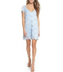 women's bb dakota jacqueline lace shift dress, size medium - blue