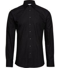 fine twill - slim fit skjorta business svart seven seas copenhagen