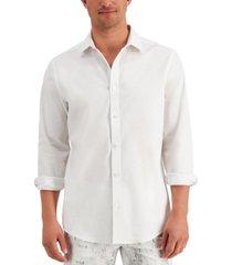 alfani men's stretch linen woven shirt, created for macy's