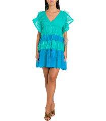 alberta ferretti color block mini dress with feathers