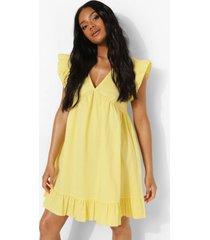 petite gesmokte jurk met ruches, yellow