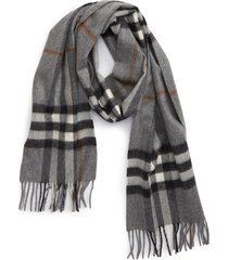 burberry giant icon check cashmere scarf in grey at nordstrom