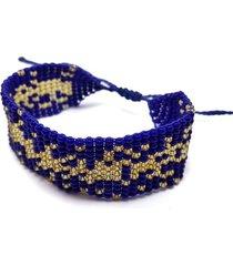pulsera telar azul y dorado