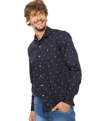 camisa azul laundry ml claus slim estampada vte.1