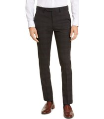 calvin klein men's skinny-fit infinite stretch plaid dress pants