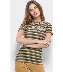 blusa forum canelada listrada feminina