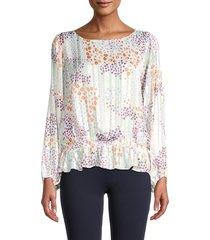 cooper & ella women's peplum long-sleeve blouse - white purple combo - size xl
