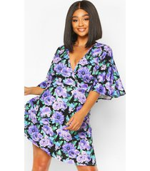 plus floral angel sleeve skater dress, purple