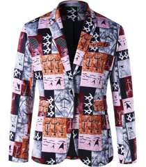 ancient words printed single button blazer