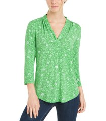 charter club petite floral-print pleated-neck top, created for macy's