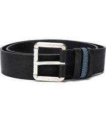 diesel leather belt with denim loop - black