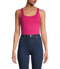 calvin klein jeans women's square-neck bodysuit - pink - size xl