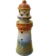 porta vela de cerâmica farol 24x10cm