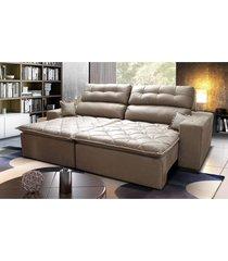 sofã¡ 2,62m retrã¡til e reclinã¡vel com molas cama inbox confort tecido suede velusoft castor - incolor - dafiti