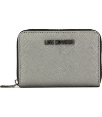 love moschino compact textured wallet - silver