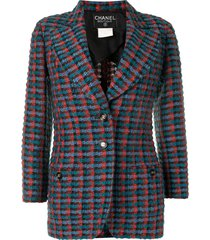 chanel pre-owned checked woven blazer - red