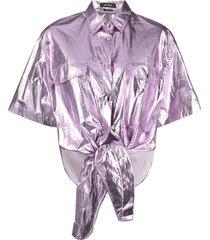 isabel marant metallic coated-cotton shirt - purple