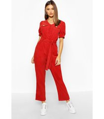 cord puff sleeve ankle grazer jumpsuit, rust