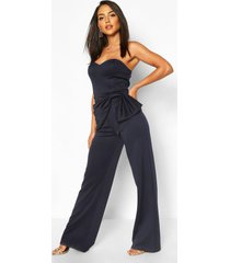 bow detail sweetheart neckline bandeau jumpsuit, navy