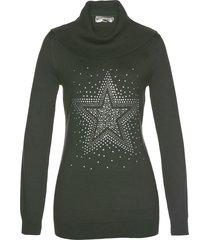 pullover a collo alto con stella di strass (verde) - bpc selection