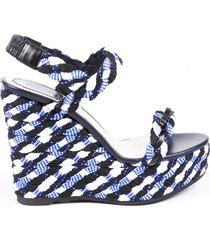 christian dior blue woven braided platform wedge sandals blue/black sz: 9.5