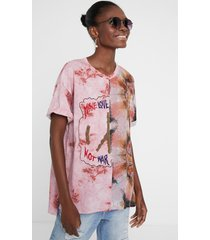 faded effect love blouse - red - xl