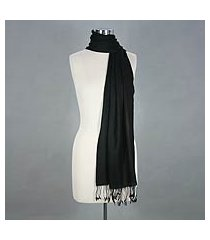 wool scarf, 'ebony warmth' (india)