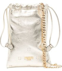 moschino metallic sheepskin drawstring pouch bag - gold