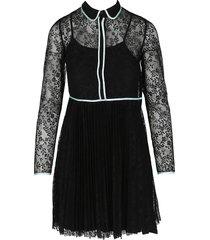 maje women's floral lace long-sleeve dress - black - size 1 (s)