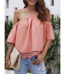 rosa blusa de manga corta con cuello halter de encaje