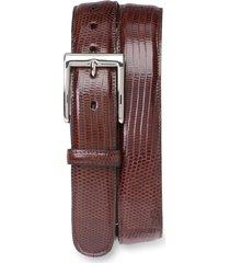 men's big & tall torino lizard leather belt, size 46 - cognac