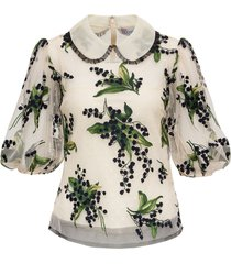 point desprit tulle shirt with may lily embroidery valentino