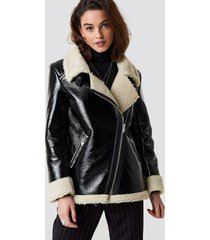 emilie briting x na-kd aviator jacket - black