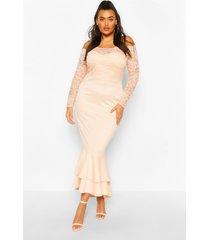 plus kanten maxi jurk met boothals en fishtail, blush