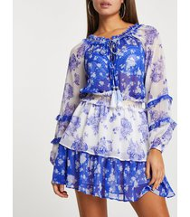 river island womens blue floral smock beach dress cover up