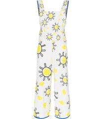 mira mikati square neck sunshine print cotton linen blend jumpsuit -