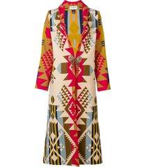 jessie western patterned long coat - yellow